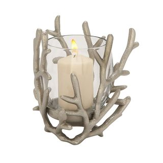 Porch & Den Mola Silver Aluminum/ Glass Candle Holder