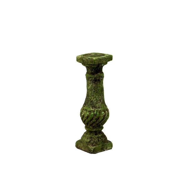 Nice & Charming Antique Stoneware Candleholder With Moss Finish (Small)