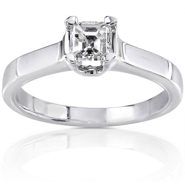 Annello 14k Gold 1/2ct TDW Asscher Diamond Solitaire Ring (H-I, SI1)