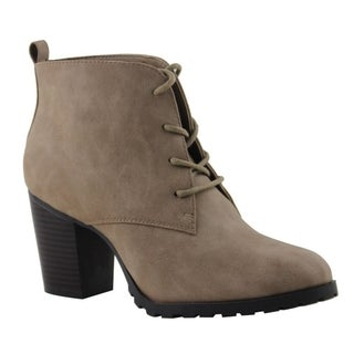 Celebrity NYC Women's Kelly Black or Beige Faux Leather Lace-up Bootie