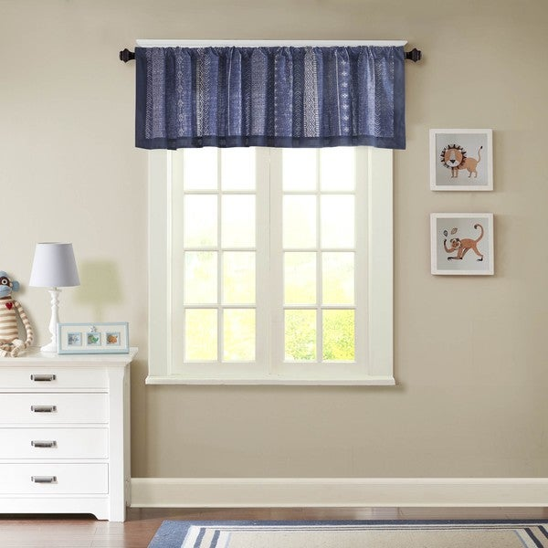 INK+IVY Kids Oliver Navy Cotton Printed Window Valance