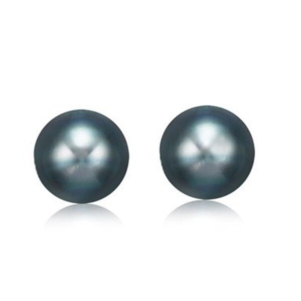 Pearlyta 14k Gold Black Cultured Pearl Stud Earrings (8-9mm)