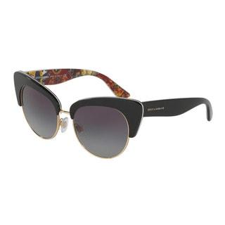 D&G Women's DG4277 30338G Black Plastic Cat Eye Sunglasses