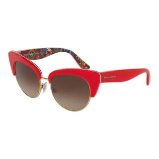 D&G Women's DG4277 303413 Red Plastic Cat Eye Sunglasses