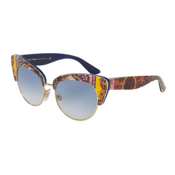 D&G Women's DG4277 303619 Blue Plastic Cat Eye Oversized Sunglasses