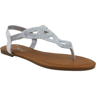 Celebrity NYC Women's Lydia Microfiber and Faux Leather Flat Sandal