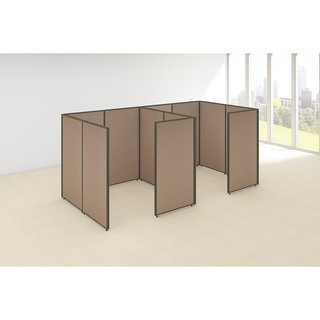 Bush Business Furniture ProPanels 144W x 72D x 66H 2-person Tan/Taupe Fabric And Plastic Closed Cubicle Configuration