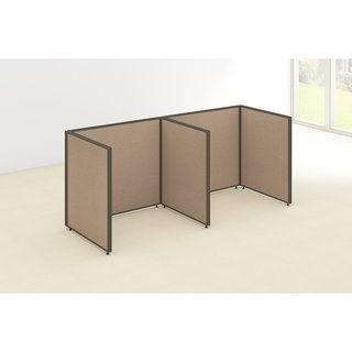 Bush Business Furniture ProPanels 96W x 36D x 42H 2-person Taupe/Tan Fabric/Plastic Open Cubicle Configuration