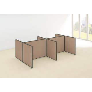 Bush Business Furniture ProPanels 120W x 72D x 42H 4-person Harvest Tan Fabric/Plastic Open Cubicle Configuration