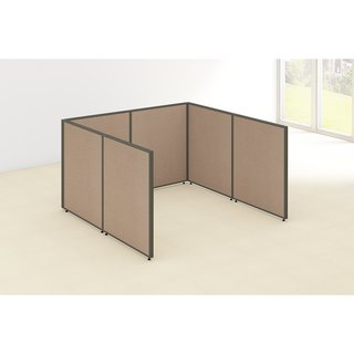 Bush Business Furniture ProPanels 72W x 72D x 42H Tan Plastic Open Cubicle Configuration