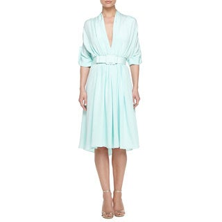 Badgley Mishka Mint Silk Pleated Belted Dress