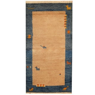 Herat Oriental Indo Hand-knotted Gabbeh ivory/ Blue Wool Area Rug (2'6 x 4'9)