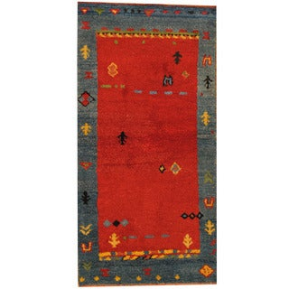Herat Oriental Indo Hand-knotted Gabbeh Red/ Blue Wool Area Rug (2'6 x 4'8)