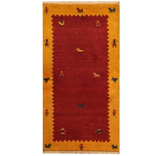 Herat Oriental Indo Hand-knotted Gabbeh Red/ Gold Wool Area Rug (2'6 x 4'7)
