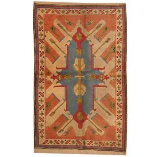 Herat Oriental Turkish Hand-knotted Tribal Kazak Beige/ Red Wool Rug (4'5 x 6'10)