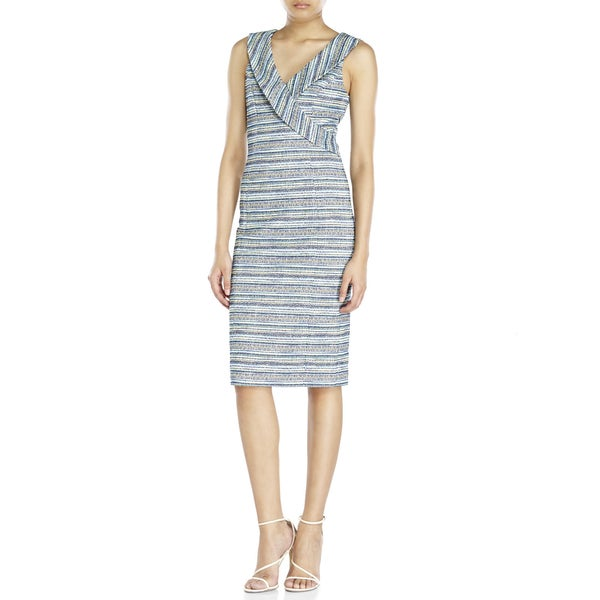 Badgley Mischka Women's Blue Tweed Dress (Size 10)