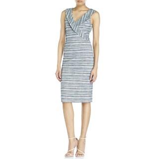 Badgley Mischka Women's Blue Tweed Dress (Size 10)
