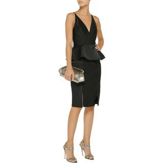Badgley Mischka Women's Cotton/Polyester Faille Peplum Dress