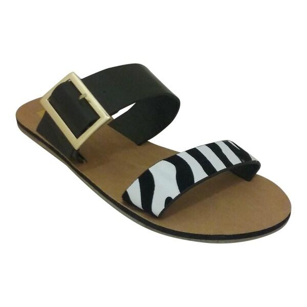 Nichole Simpson Women's ALMA Zebra Print Faux-Leather Sandal