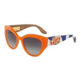 D&G Women's DG4278 30468G Orange Plastic Cat Eye Sunglasses
