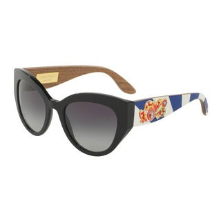 D&G Women's DG4278 501/8G Black Plastic Cat Eye Sunglasses