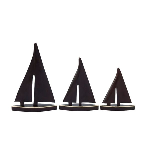Smart Set Of Three Wood Brass Boat