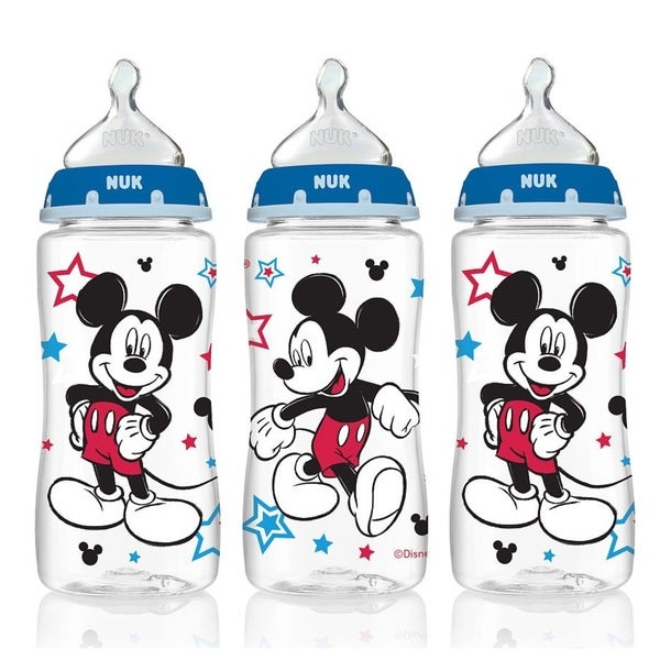 Nuk Disney Mickey Mouse Pack Of 3 10-ounce Medium Flow Orthodontic Bottles 18628076