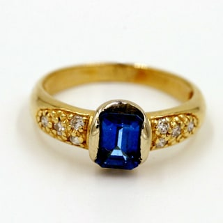 14k Yellow Gold 1/5ct TDW Blue Sapphire and Diamond Fashion Ring (G-H, I1)