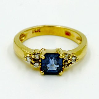 14k Yellow Gold 1/6ct TDW Blue Sapphire and Diamond Fashion Ring (G-H, I1)