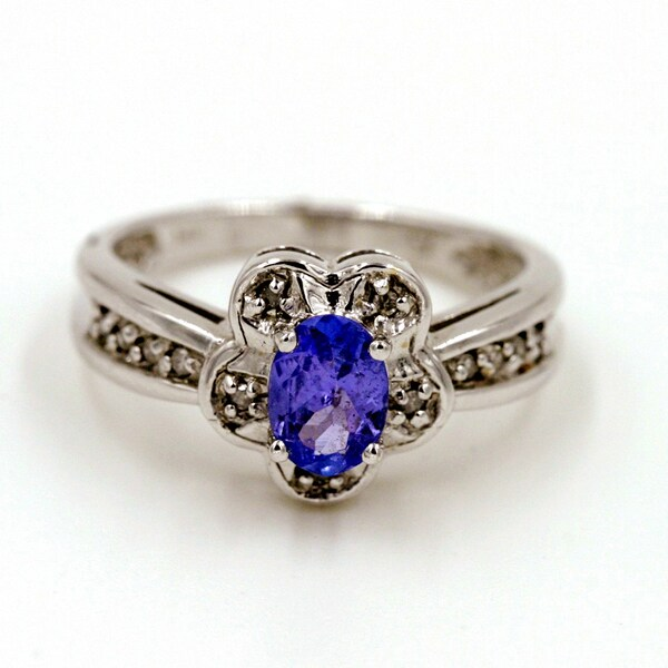 14k White Gold 1/8ct TDW Tanzanite and Diamond Fashion Ring (G-H, I1)