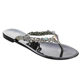 Beston DC51 Women's V-strap Rhinestone Accents Flip Flop Flat Slip On Sandals