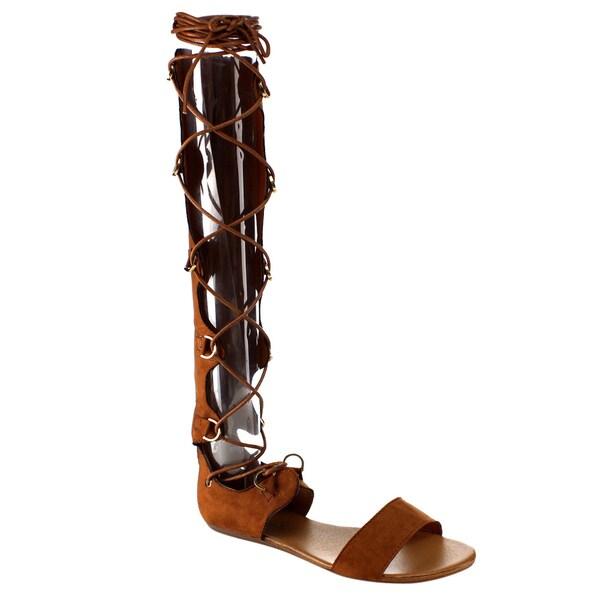 Beston DA97 Knee High Gladiator Sandals