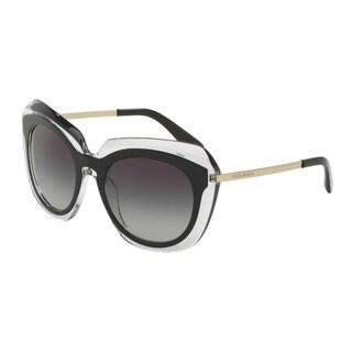 D&G Women's DG4282 675/8G Black Plastic Irregular Sunglasses