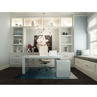 Modrest Soul White Wood Modern Contemporary Office Desk With Attached Cabinet