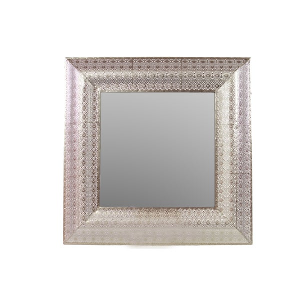 Elegant Metal Mirror With Square Embossed Border