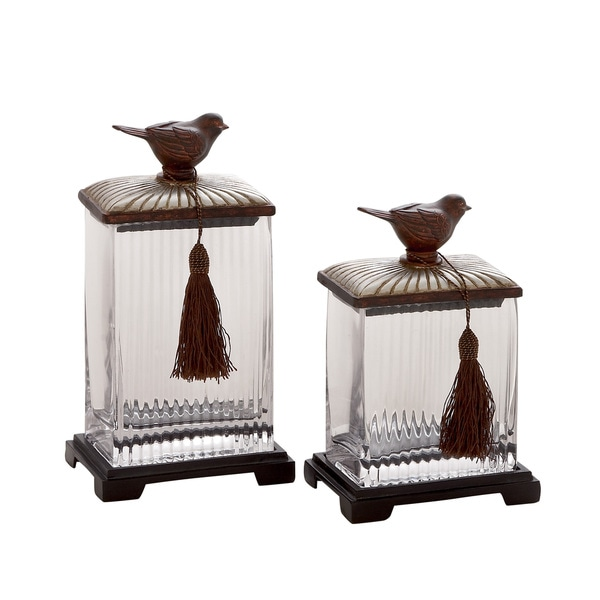 Classy And Stylish Polystone Glass Canister (Set Of 2) 18630854