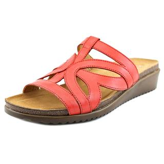 Naturalizer Women's Fryna Red Leather Slide Sandals