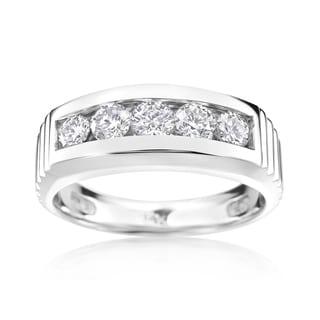 Andrew Charles 14k White Gold Men's 1 1/5ct TDW Diamond Ring (H-I, SI2-I1)