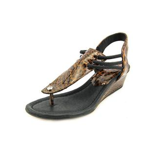 Donald J Pliner Women's Dove Animal-Print Leather/Manmade Wedge Sandals