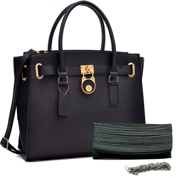 Dasein Belted Medium Tote Bag & Chain Flap Clutch Purse