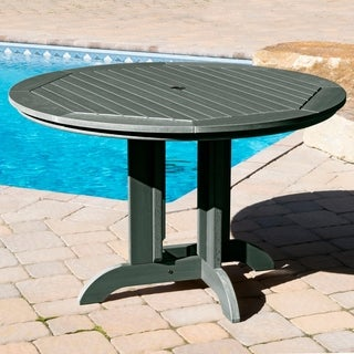 Black Plastic Wood-finished 30-inch x 48-inch x 48-inch Round Dining Table