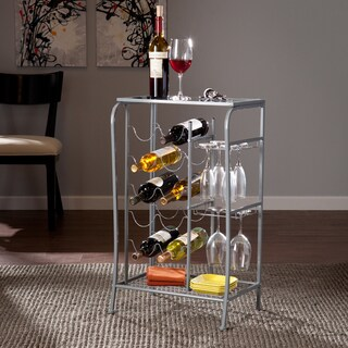Upton Home Marlena Silver Wine Rack Storage Table