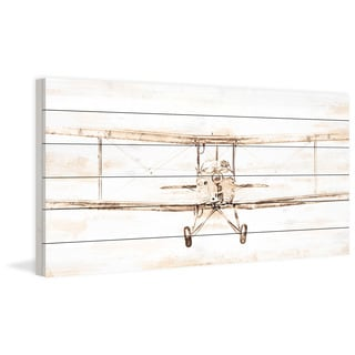 "Marmont Hill - ""Bi-Plane"" Painting Print on White Wood"