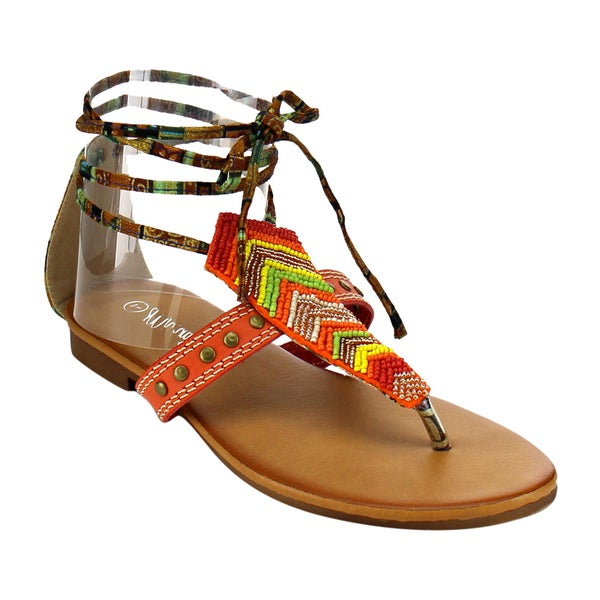 MI.IM BOHO-02 Beaded Thong Sandals 18631789
