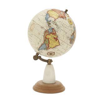 Gorgeous Wood Metal Marble Globe