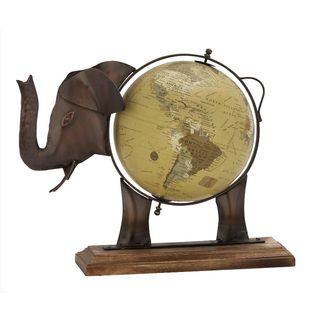 Gorgeous Metal Wood Elephant Globe Bronze