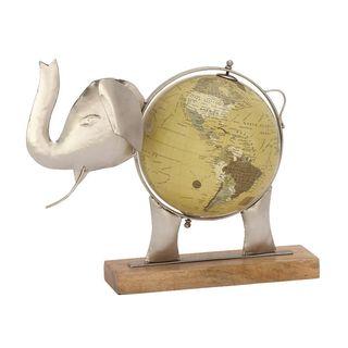 Unique Metal Wood Elephant Globe Nickel