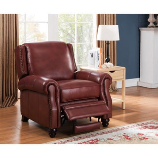 Bismack Rusted Red Premium Top Grain Italian Leather Recliner Chair