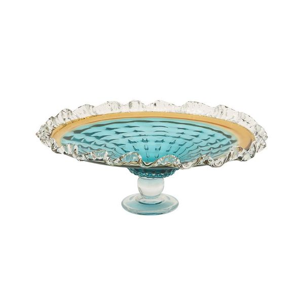 Appealing Glass Blue Pedestal Plate 18632029