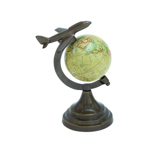 Bronze Globe With Metal Aircraft On Top
